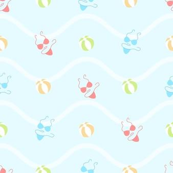 かわいい夏のビキニとビーチボールのシームレスなパターン
