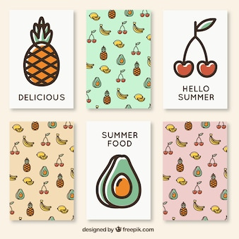 Cute summer cards of fruits