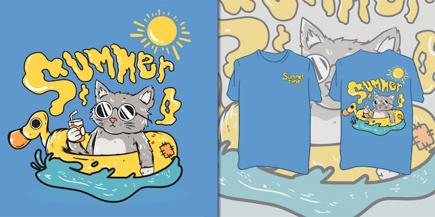 Милый летний котик для футболки