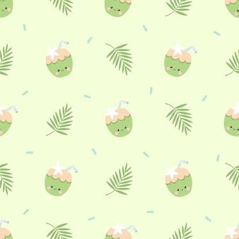귀여운 여름 코코넛과 열대 야자 잎 원활한 패턴