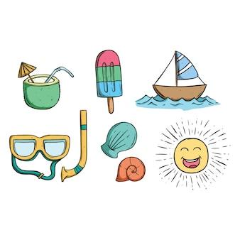 낙서 예술을 사용하여 보트, 쉘 및 아이스크림 그리기 귀여운 여름 컬렉션