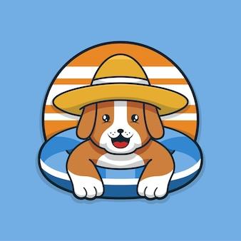 Милая летняя собака отдыхает в бассейне
