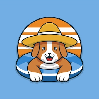 Cute summer dog relaxing on swimming pool