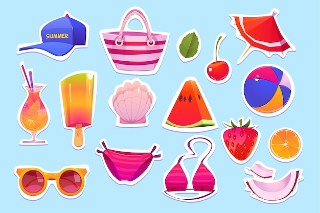 Cute summer elements set