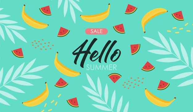 Cute summer elements, tropical banner