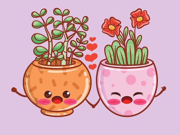 귀여운 여름 꽃 냄비 만화 캐릭터와 삽화. 커플 개념입니다.