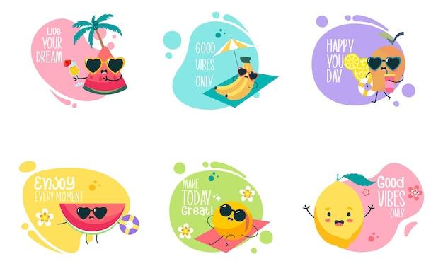 可爱的夏日水果卡通人物,带有励志文字插图