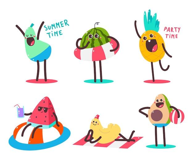 Симпатичные летние фрукты персонажи мультяшный набор изолированных