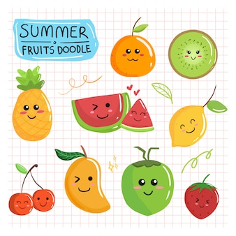 Cute summer fruits doodle collection cartoon set drawing cartoon