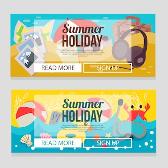 Cute summer holiday banner template with beach theme vector illustration