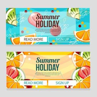 Симпатичный летний праздник баннер с фруктовой темой иллюстрации