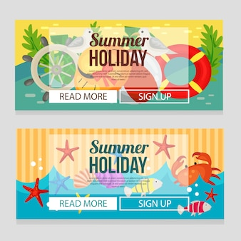 Cute summer holiday banner with marine theme vector illustration