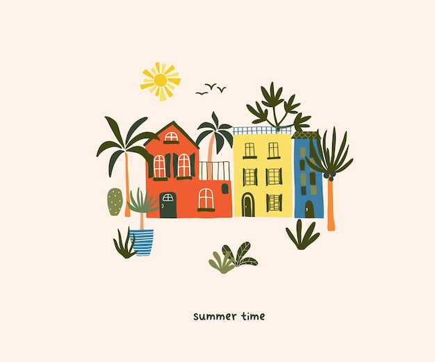 ヤシの木と太陽とビーチのかわいい夏の家。はがき、グリーティングカード、tシャツのデザインのための居心地の良いヒュッゲスカンジナビアスタイルのテンプレート。フラット手描き漫画スタイルのベクトル図