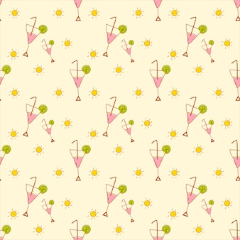 Cute summer icon pattern vector
