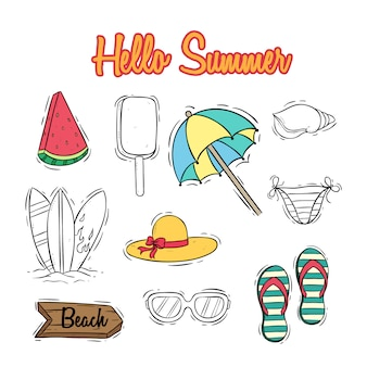 Cute summer icons collection with text and colored doodle style