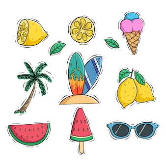 Cute summer icons set with lemon watermelon and coconut tree using colored doodle style