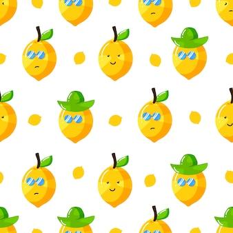 Cute summer lemon cartoon character with flat hand drawn style seamless pattern