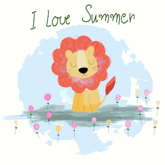 Cute summer lion cartoon