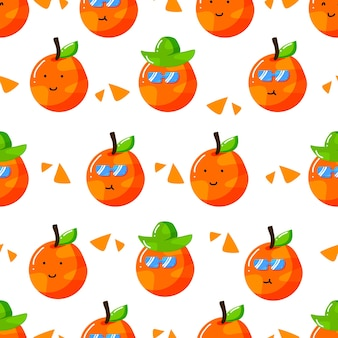 Cute summer orange citrus cartoon character with flat hand drawn style seamless pattern