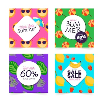 Cute summer party hand drawn cards