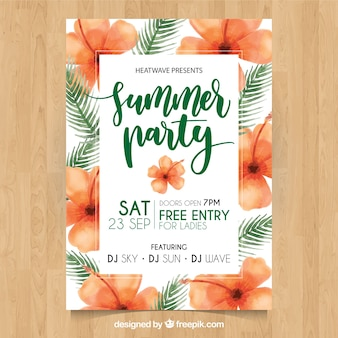 Cute summer party poster with flowers and watercolor palm leaves