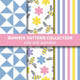 Cute summer pattern collection. bees theme.