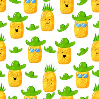 Cute summer pineapple cartoon character with flat hand drawn style seamless pattern