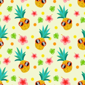 Cute summer pineapple seamless pattern.