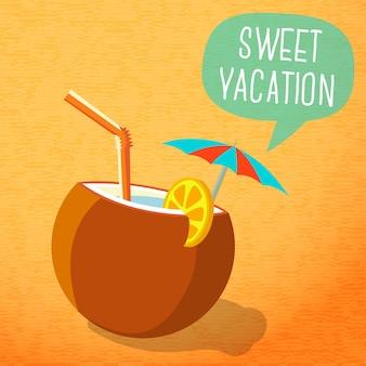 Симпатичный летний плакат - пляжный коктейль в кокосовом орехе с зонтиком и ломтиком лимона, речевой пузырь для вашего текста