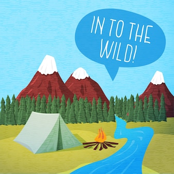 Cute summer poster - camping landscape with tent and bonfire, speech bubble for your text.