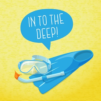 Cute summer poster - diving mask, flippers and pipe. with speech bubble for your text.