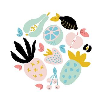 추상 과일 콜라주가 있는 귀여운 여름 포스터, 종이 조각 모방, 최신 유행의 최소 그래픽 디자인 스타일. 벡터 일러스트 레이 션 흰색 배경에 고립
