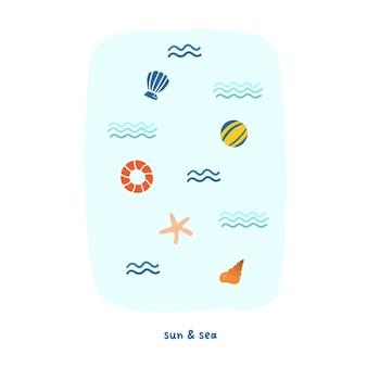 かわいい夏の海の波、貝殻、救命浮輪。はがき、グリーティングカード、tシャツのデザインのための居心地の良いヒュッゲスカンジナビアスタイルのテンプレート。フラット手描き漫画スタイルのベクトル図
