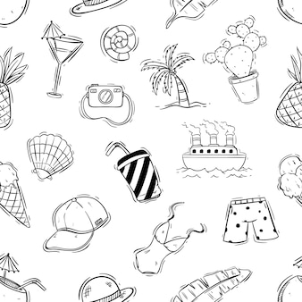 Cute summer seamless pattern with doodle style