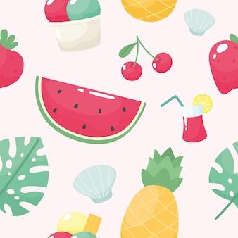 수박 체리 딸기 파인애플 조개 아이스크림 음료와 함께 귀여운 여름 원활한 패턴