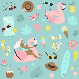 Cute summer seamless pattern.