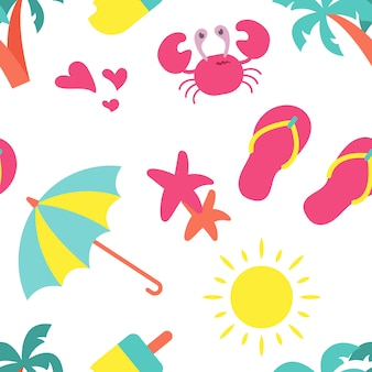 かわいい夏のシームレスパターン