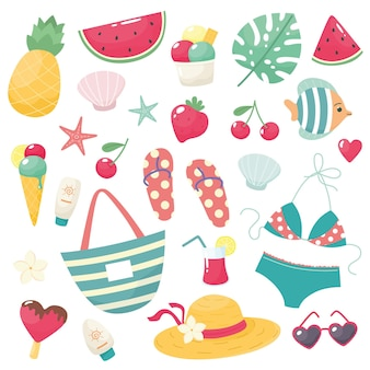 비키니 플립 플롭 과일 아이스크림 꽃 껍질 안경 모자 핸드백으로 귀여운 여름 세트