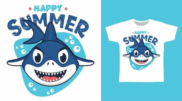 Симпатичная летняя футболка с акулой Premium векторы