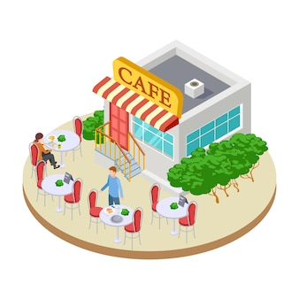 Cute summer street small cafe with outside tables isometric  illustration