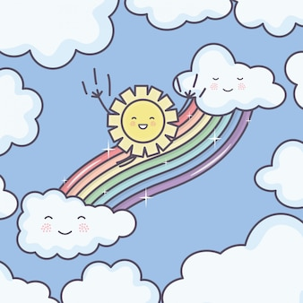 Cute summer sun and clouds rainy with rainbow kawaii characters