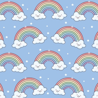 Cute summer sun and clouds with rainbow kawaii pattern