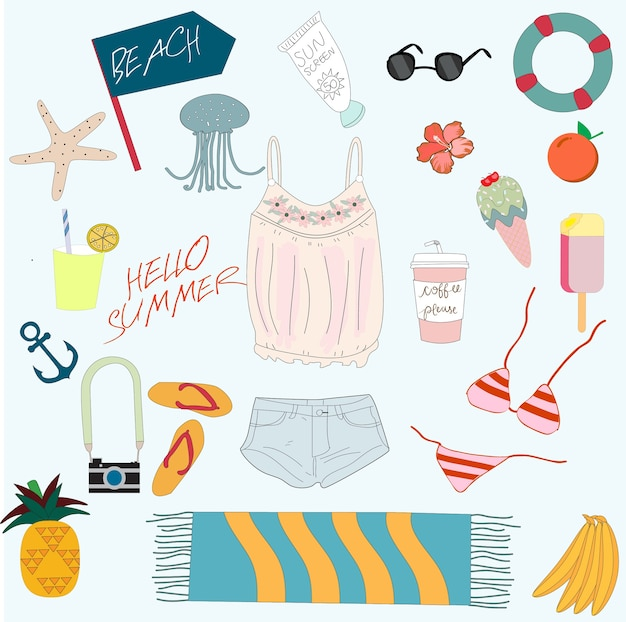 Cute summer sunny day beach items cartoon