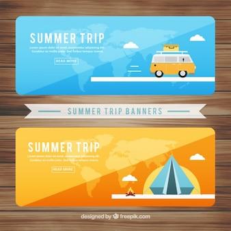 Cute summer trip banners