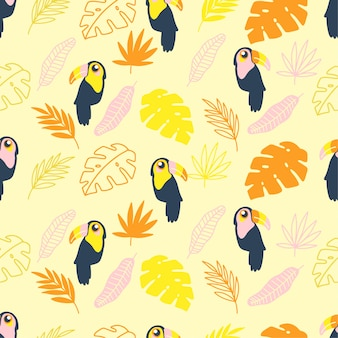 귀여운 여름 투싼 새 매끄러운 패턴 만화 요소 세트