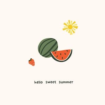 귀여운 여름 수박 조각과 딸기. 엽서, 인사말 카드, 티셔츠 디자인을 위한 아늑한 휘게 스칸디나비아 스타일 템플릿입니다. 평면 손으로 그린 만화 스타일의 벡터 일러스트 레이 션