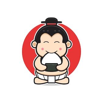 귀여운 스모는 주먹밥 만화 아이콘 삽화를 먹습니다. 디자인 고립 된 평면 만화 스타일