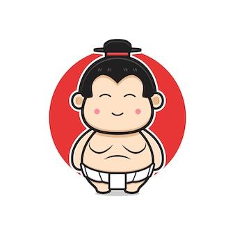 かわいい相撲マスコットキャラクター漫画アイコンイラスト。孤立したフラット漫画スタイルをデザインする