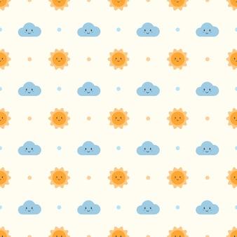 귀여운 태양과 구름 패턴 배경