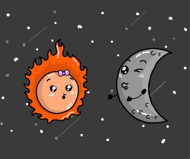 かわいい太陽と月のベクトル